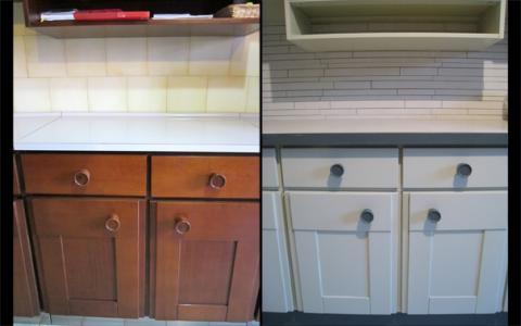 Rinnovare vecchia cucina dipingere mobili e cambiare maniglie - Dipingere mobili cucina vecchia ...